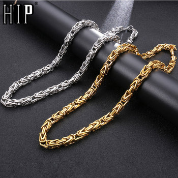 eb0d31bfea9f HIP Hop ancho 8mm de acero inoxidable de plata de oro bizantino enlace cadena  collar 316L de acero inoxidable para los hombres de la joyería  Dropshipping. ...