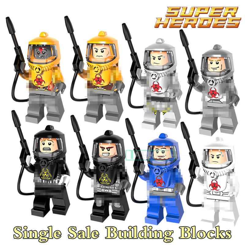 Building Blocks Fire-fighting Anti-chemical Clothers Zombie SuperHero StarWars Bricks Dolls Kids DIY Toys Hobbies PG8081 Figures