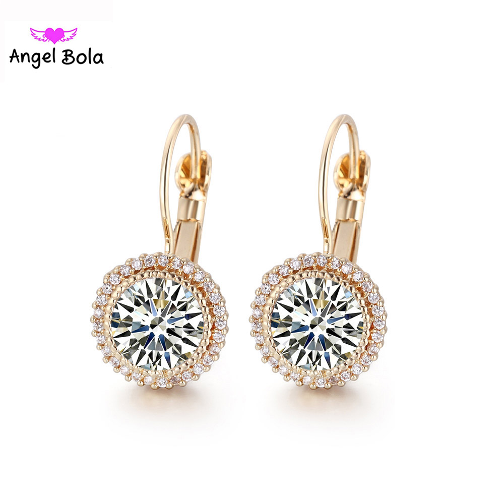 Gold Round Dangle Earrings Jewelry AAA CZ Crystal 10Pairs Wholesales Beautiful Errings Women Gift Jewelry E-012 Free Shipping