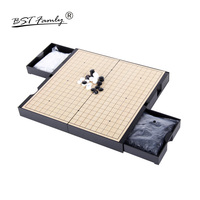 BSTFAMLY Go Chess Chinese Chess Two in one 19 Road 361 Pcs/Set Old Game of Go Weiqi Magnetic Checkers Foldable Chessboard G10