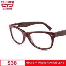 68f53b19102a انتصار الرؤية العلامة التجارية مصمم الكلاسيكية برشام كامل إطار خلات الرجعية  وصفة طبية نظارات المرأة قصر النظر النظارات واضحة نظا.