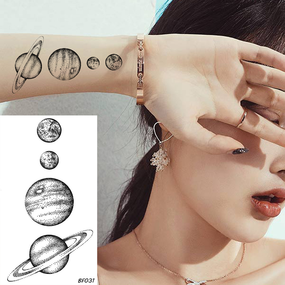VANKIRS Fashion Star Temporary Tattoo Planets Universe Waterproof Arm Tattoos For Kids Women Men Fake Black Cute Tattoo Custom