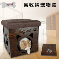 Multi Functional Creative Stool Chair Pet Nest Wood Family Sitting Cats House Dog Bed Pet Puppy