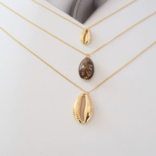 WHOMEWHO Gold Metal Triple Layers Chain Sealife Seashell Natural Sea Snail Conch Necklace Korean Fashion Summer Jewelry