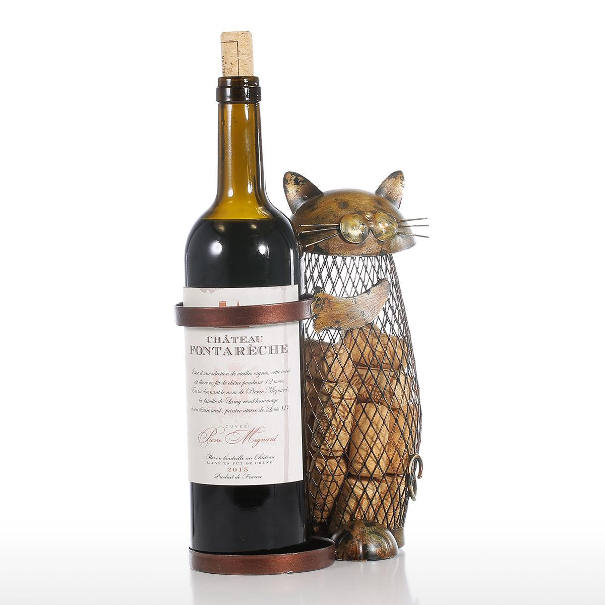 Tooarts Cat Wine Rack Cork Container Bottle Wine Holder Kitchen Bar Metal Wine Craft Christmas Gift Handcraft Animal Wine Stand 14
