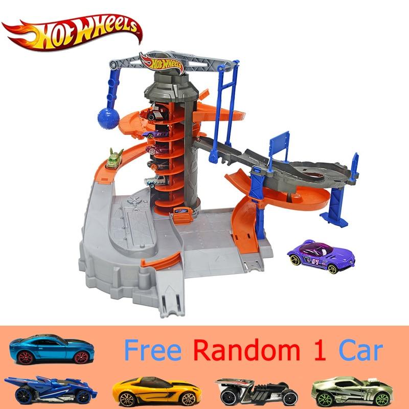 حقيقية Hotwheels الرياضة سيارة المسار مجموعة مضحك الكهربائية سيارة متعددة الوظائف لعبة مدينة Explorat العجلات الساخنة لعبة تعقب نموذج DPD88-في عجلات ساخنة من الألعاب والهوايات على  مجموعة 1
