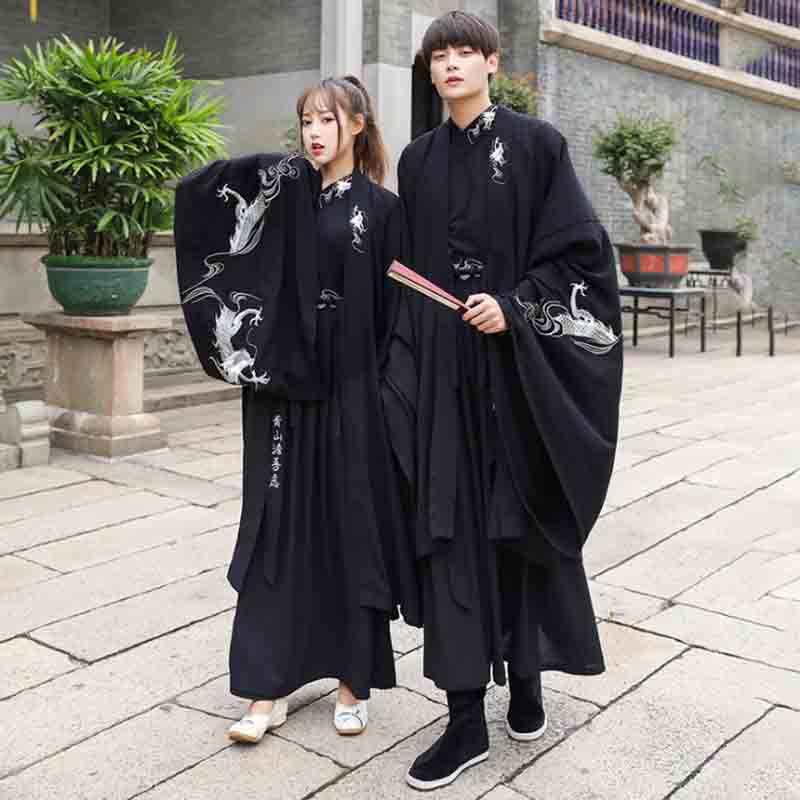 Adult Couples Black Hanfu Sets Traditional Chinese Fancy Dress Couple Halloween Cosplay Costume For Men/Women Plus Size 4XL 5XL