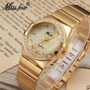 Image 2 - MISSFOX Gold Watch Fashion Brand Rhinestone Relogio Feminino Dourado Timepiece Women Xfcs Grils Superstar Original Role Watches