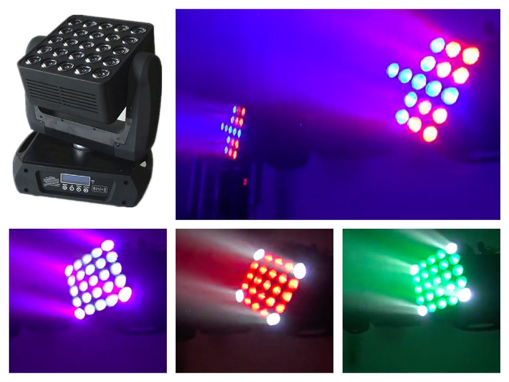 2pcs/lot+flightcase, LED Matrix Light 25x12W Moving Head Beam Cree RGBW 5x5 panel led matrix light dj stage lighting background