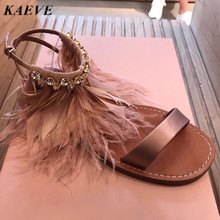 Summer Women Sandals 2017 Fashion Bohemia Women s Shoes Ankle Diamond Feather Strap Sandalias Flat Satin