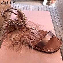 Summer Women Sandals 2017 Fashion Bohemia Women's Shoes Ankle Diamond Feather Strap Sandalias Flat Satin Sandal
