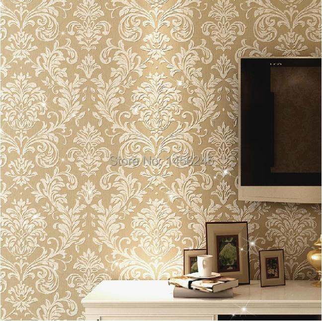 Glitter italian non woven wallpaper background wall damask for Wallpaper home improvement questions