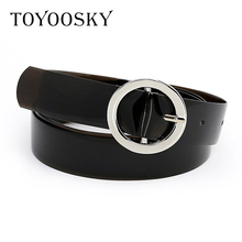 TOYOOSKY Cool tide Women Belts for Jeans PVC PU Leather Circle Ring Chain Pin Buckle Solid Thin Female Cinturon Mujer