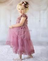 Antieke dusty rose kinderen meisje jurken bloem meisje jurken bruiloft meisje pageant party jurk kid kleding