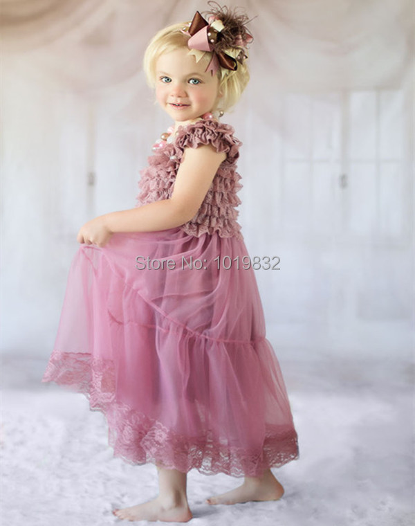 Vintage Dusty Rose Children Girl Dresses Flower Girl Dresses For Wedding Girl Pageant Party Dress Kid Clothes