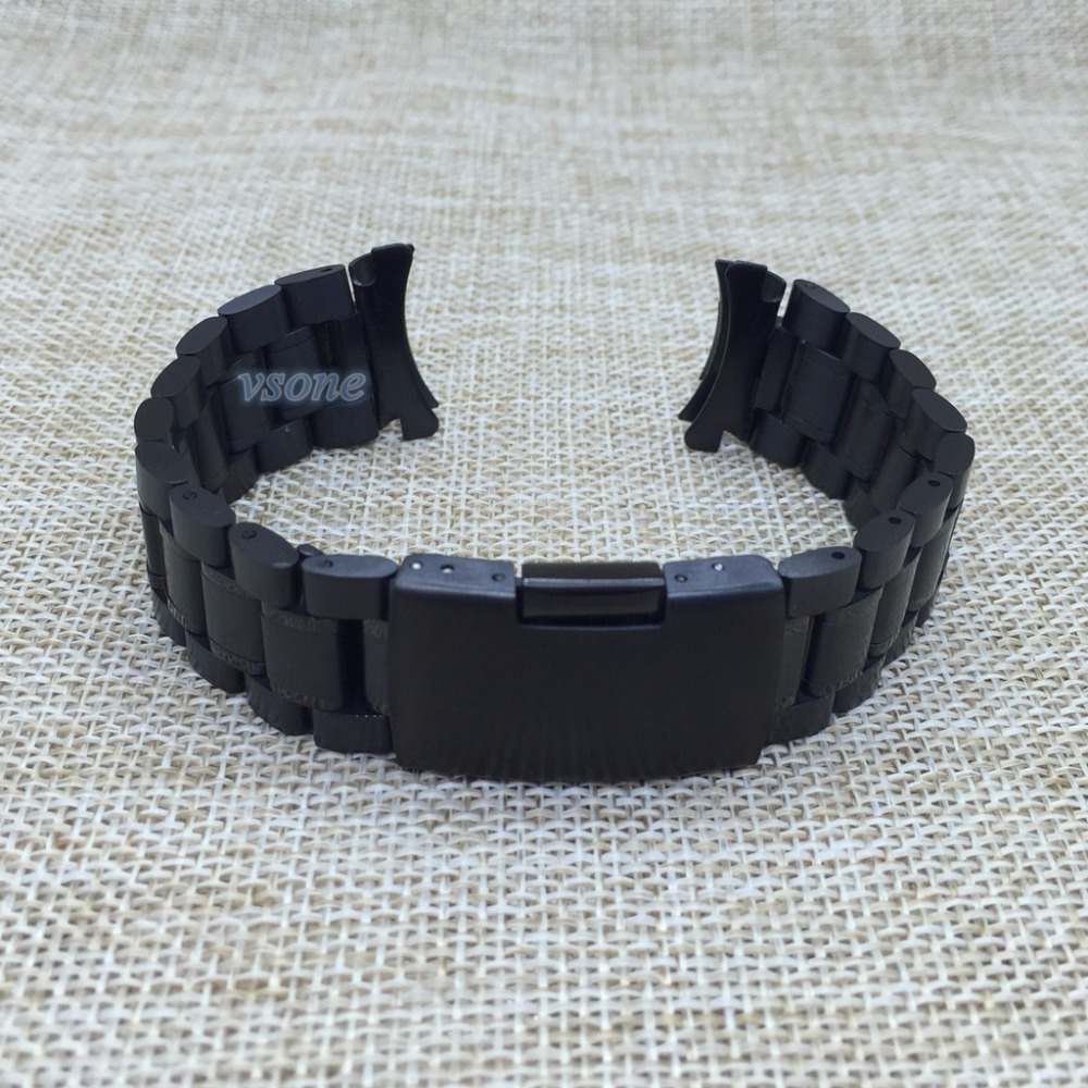 18mm 20mm 22mm 24mm Curved End Black Watch Strap Bracelet Solid Stainless Steel Band Deployment Clasp curved end stainless steel watch band for breitling iwc tag heuer butterfly buckle strap wrist belt bracelet 18mm 20mm 22mm 24mm