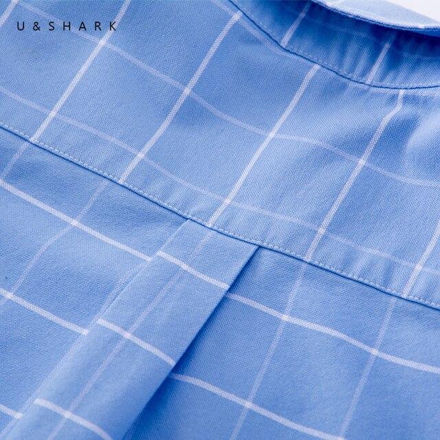 U&SHARK Men Oxford Casual Shirt Long Sleeve Slim Fit Comfortable Plaid Shirt 100% Cotton Mens Dress Shirts Brand Clothing Male 3