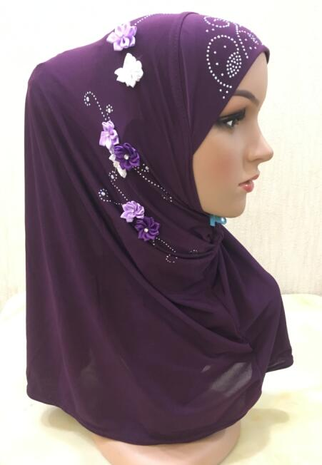 H1249 muslim one piece hijab scarf with stones and flowers mixed colors fast delivery