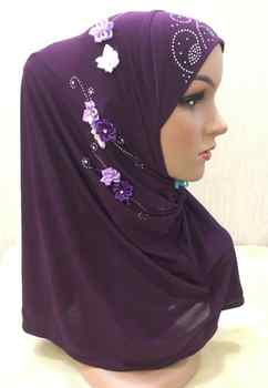 H1249 muslim one piece hijab scarf with stones and flowers instant pull on scarf fast delivery - DISCOUNT ITEM  10 OFF Apparel Accessories