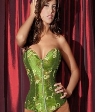 Sexy Olive Print Front Zipper Overbust Corset