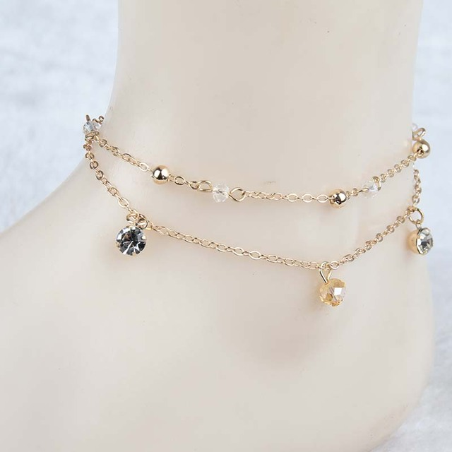 New Sexy gold anklets Double Layer Beach Sandal crystal Ankle Chain Anklet  Foot bracelet Pulseras Tobilleras Summer jewelry b90fc926d7db