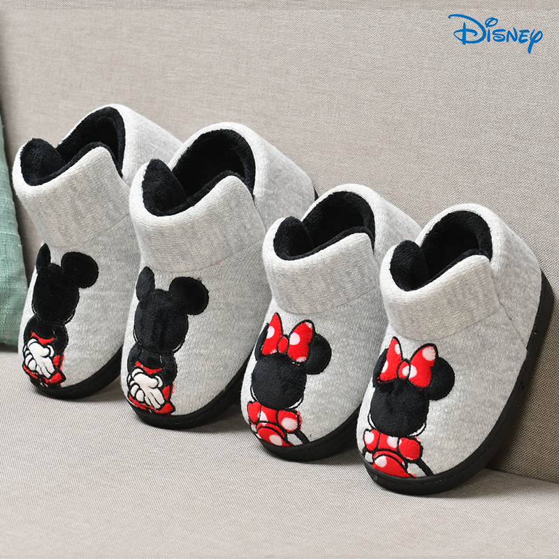 Disney Fur Slippers Baby Girls Winter Slippers Boys Home Shoes Winter High Heels Mickey Cartoon Animation Indoor House Boot