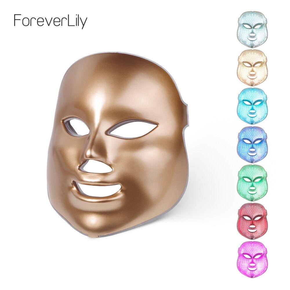 Foreverlily or 7 couleur Led masque de beauté masque Led thérapie thérapie par la lumière Led Photon thérapie lumière du visage soins de la peau masque de beauté
