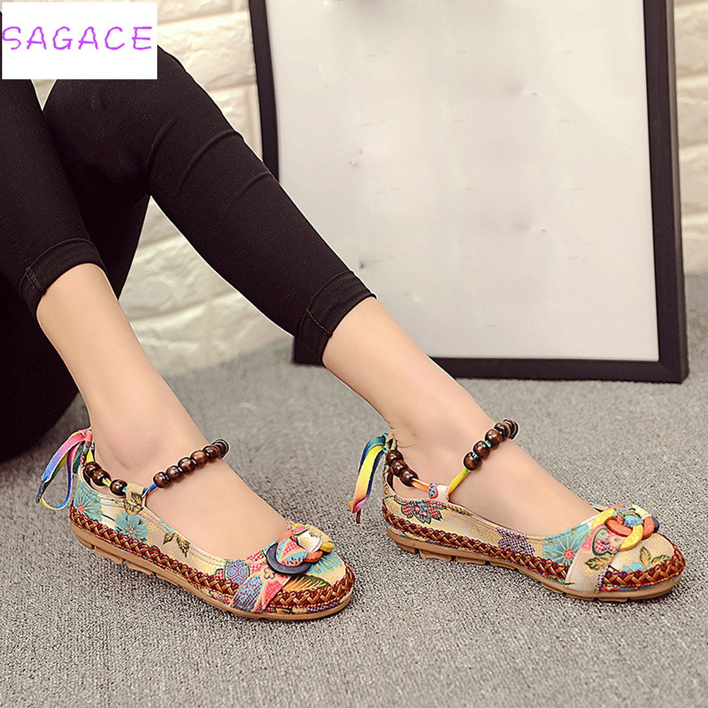 CAGACE 2019 New fashion Women Ethnic Lace Up Beading Round Toe Comfortable Flats Colorful Loafers  embroidered cotton shoes
