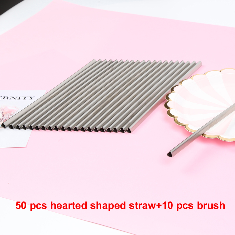 50pcs 10pcs Brush Silver HEART Shaped Stainless Steel Metal Drinking Straw Reusable Portable E co Friendly