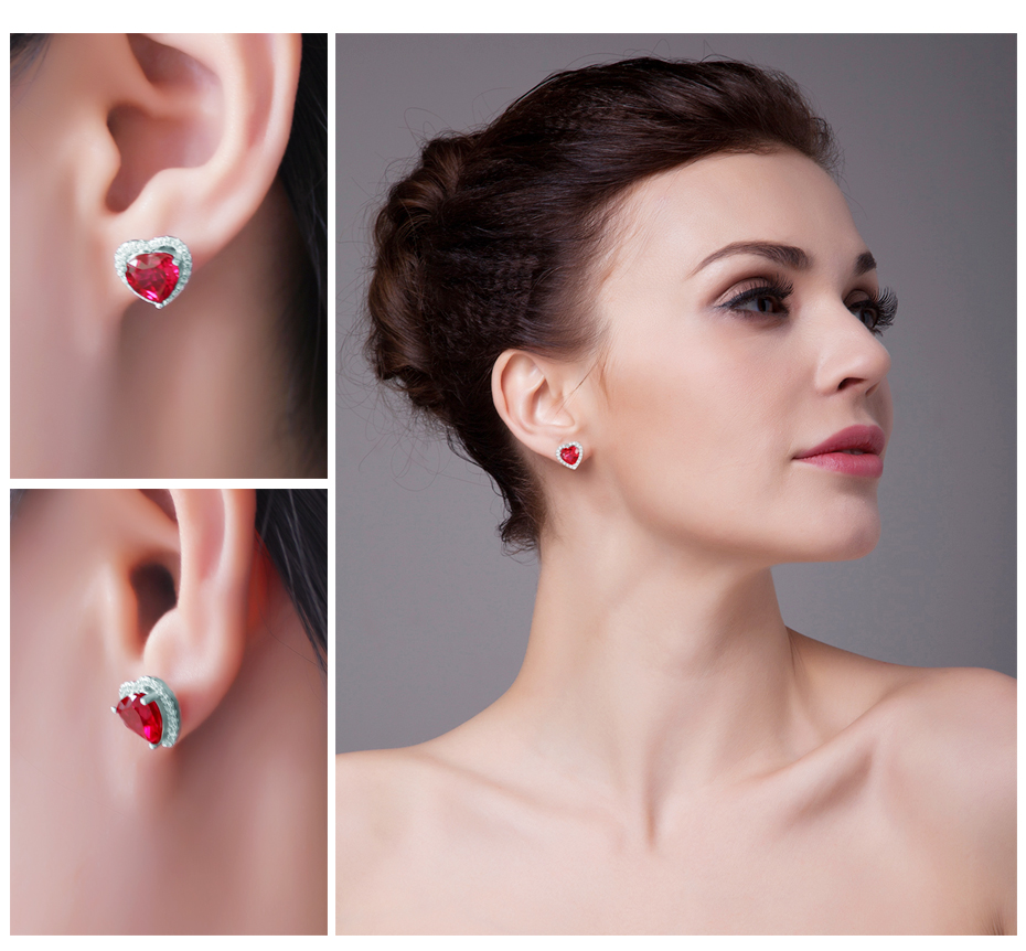 JewelryPalace Heart 4ct Pigeon Blood Red Ruby Stud Earrings Solid ...