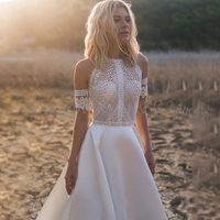 2019 High Neck Chic Lace Bohemian Casual Wedding Dresses Detachable Sleeves Off the Shoulder Sexy Satin Beach Bridal Gowns AX135