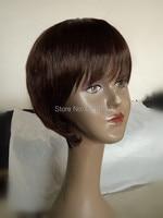 2016 горячие продажа новая мода синтетические короткие парики афро-американских прохладный стиль волос парики темно-коричневый цвет парики с полной взрыва