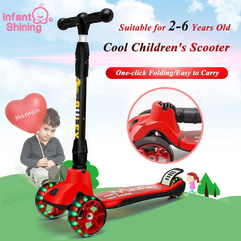 Bayi Bersinar Anak-anak Scooter 2-6 Tahun Bayi Walker Satu Klik Lipat Anak Sepeda Roda Tiga 3 Roda Bayi Skuter naik Mobil