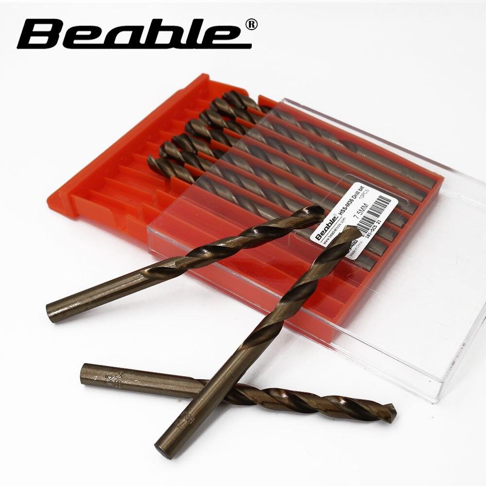 Beable tool twist drill M35-7.5MM 10PCS HSS cobalt drill tools steel set for metal cnc drill bits drilling Bit 1x 1 4 to 1 3 8 titanium step drill bit hss cobalt unibit tool for sheet metal drilling tools