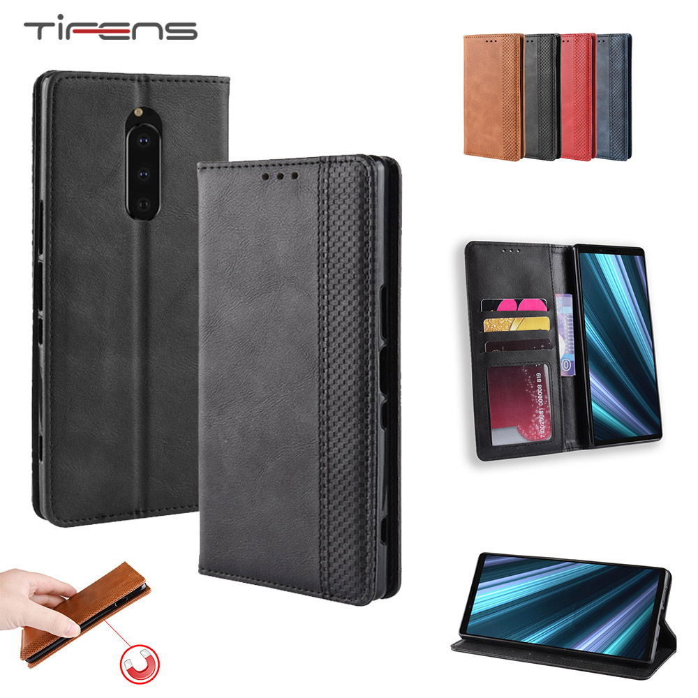 Phone <font><b>Case</b></font> For <font><b>Sony</b></font> <font><b>Xperia</b></font> 1 8 5 10 Plus <font><b>L3</b></font> XZ4 Compact Luxury Leather Magnetic Flip Wallet Card Holder Soft Protection Cover image