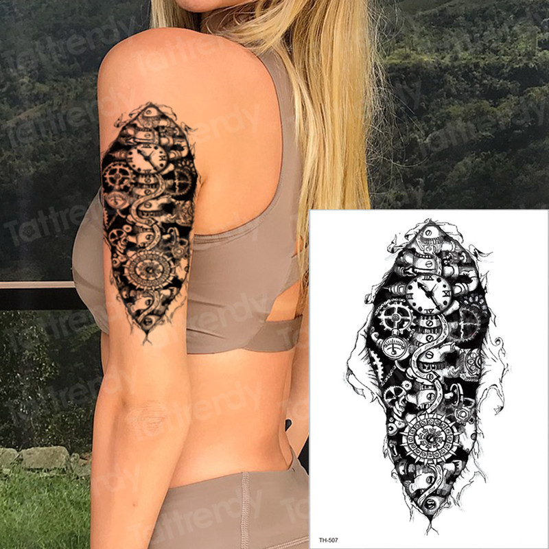 Us 114 30 Offtemporary Tattoos Mechanical Arm Sleeve Tattoo Machine Tatoo Men Fake Tattoo Halloween Model Tattoos Boys Shoulder Tatto Black In