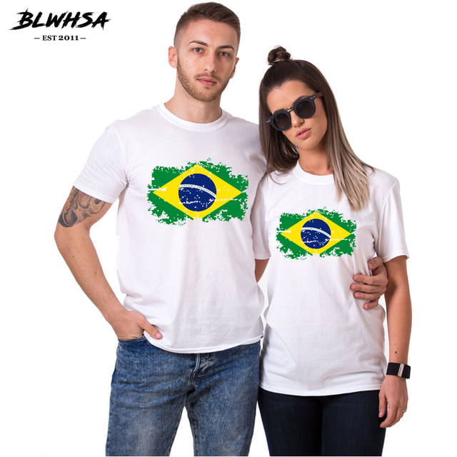 Blwhsa Brazil Flag Valentine S Day Gift Couple T Shirt Lovers