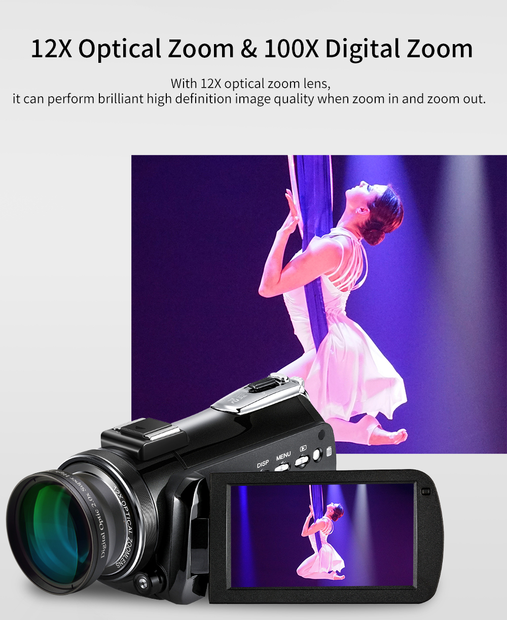 Ordro HDV-AC5 4K Camcorder 12X Optical Zoom 3.1 IPS Touch Screen Ultra HD 1080P 60FPS Digital WiFi Camera 9