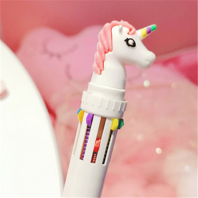 10 In 1 Colorful Kawaii Cartoon Dream Unicorn Ballpoint Pen Lovely Animal Multicolor Writing Ball Pens School 3