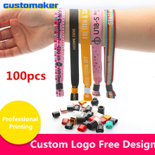 100pcs Custom bracelet disposable wristbands festival fabric wristbands for children kids toddler Anti Lost safety wristband