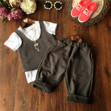 2016 summer new Korean girls and boys   T-shirt vest vest pants + + 3 piece suit children summer 3 piece Free Shipping