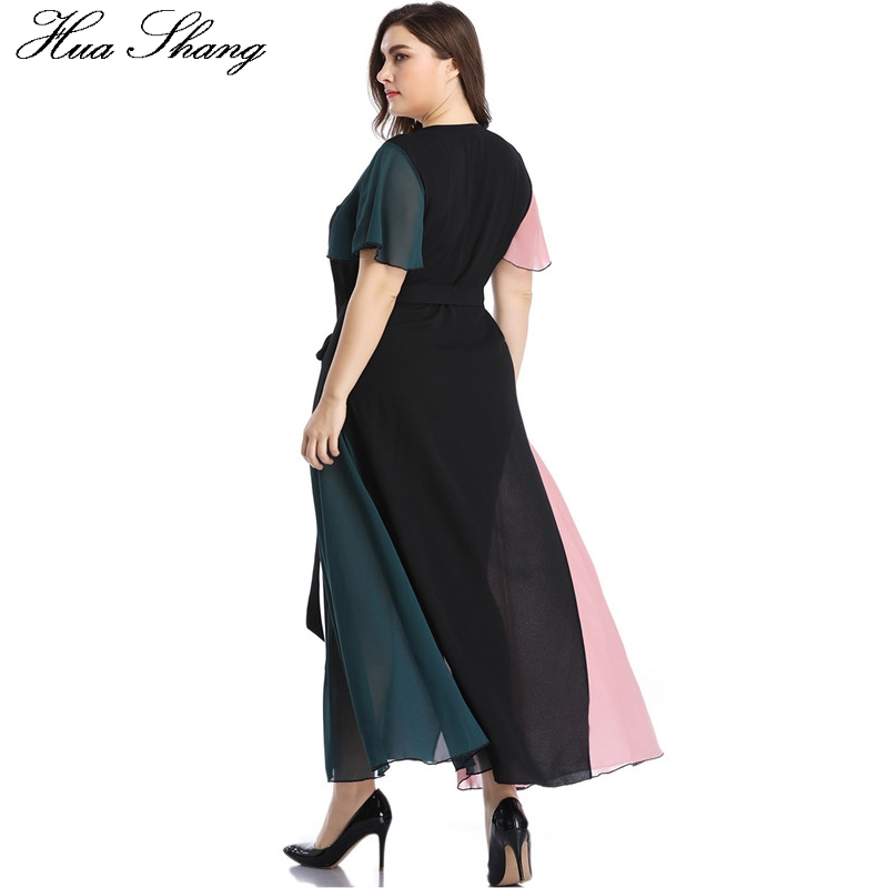 Summer Dress Beach 2019 Women V Neck Ruffles Short Sleeve Maxi Long Dress Plus Size Belted Multicolor Elegant Chiffon Dresses