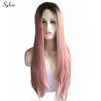Sylvia Fully Hair Brown Roots Ombre Rose Gold Heat Resistant Fiber For Women Silky Straight Mixed