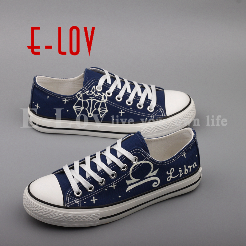 E-LOV Customize Luminous Canvas Shoes Graffiti Libra Horoscope Casual Flat Shoes Low Top  Walking Shoe For Women e lov hand painted graffiti horoscope canvas shoes custom luminous graffiti gemini casual flat shoes women zapatillas mujer