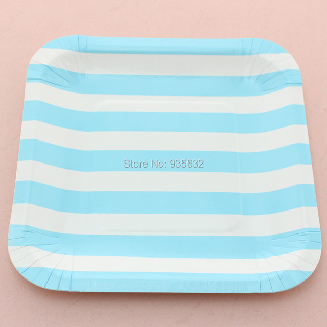 1200pcs Birthday Party Wedding Dessert Dishes 7\  Blue Striped Square Party Food Trays Paper Plates  sc 1 st  AliExpress.com & 1200pcs Birthday Party Wedding Dessert Dishes 7\