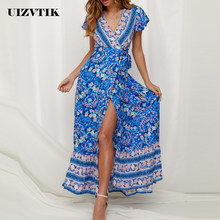 Ball Gown Summer Dress For Women 2019 Elegant Sexy Deep V Neck Split Party Dress Female Casual Print Bohemian Beach Maxi Dresses(China)