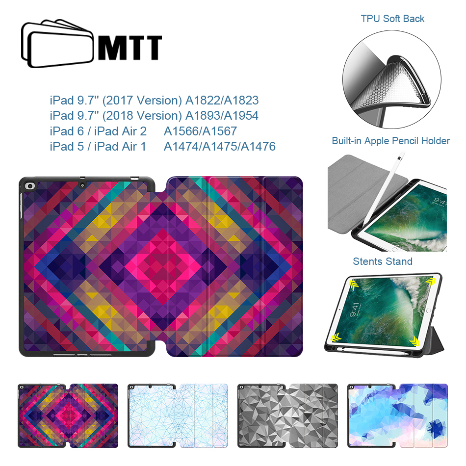 MTT Case For New iPad 9.7 inch 2017 2018 Soft TPU PU Leather Flip Stand Tablet Case for Apple iPad Air 1 Air 2 Auto Sleep/Wake polka dot ankle strap block heel sandals