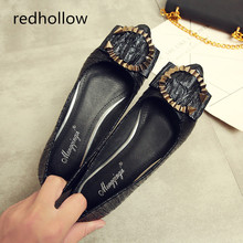 Women Fashion Spring Ladies Pointed Toe Flat Ballet Shallow Shoes Metal Decoration Loafers Slip On Casual Shoes Plus Size 34-43