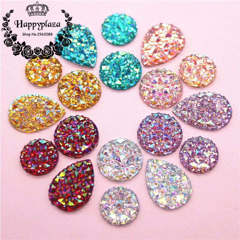 12mm/14mm/13*18mm Round/Teardrop Bling AB Colorful Resin Rhinestone Flatback Cabochon Stone DIY Wedding Decoration Crafts
