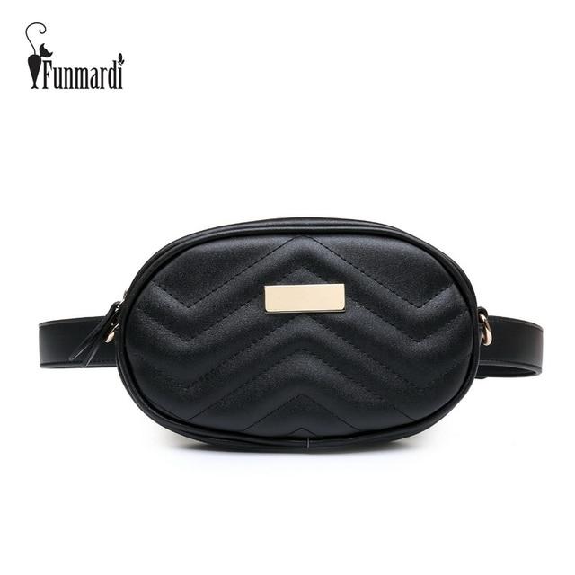 FUNMARDI PU Leather Waist Bag Female New Fashion Waist Packs Trendy Women Fanny Pack Brand Belt Bag Female Shoulder Bag WLHB1744